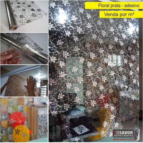Floral prata - revestimento adesivo decorativo para vidro