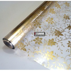 Floral ouro - revestimento adesivo decorativo para vidro largura 150cm ou 1,50m, venda por metro.