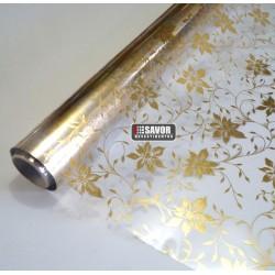 Floral dourado - revestimento adesivo decorativo para vidro