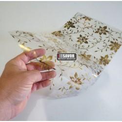 Amostra 20cm x 30cm - Floral ouro revestimento adesivo decorativo