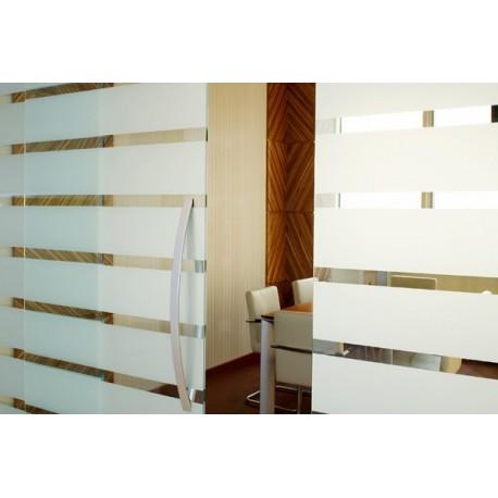 Película decorativa listras brancas 4,5cm , intervalos 1cm transparente