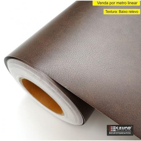 Couro marrom escuro MG460 - revestimento PVC adesivo decorativo (Largura 122cm) - venda por metro