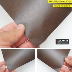 Amostra 20cm x 30cm - Couro Marrom escuro - revestimento PVC adesivo