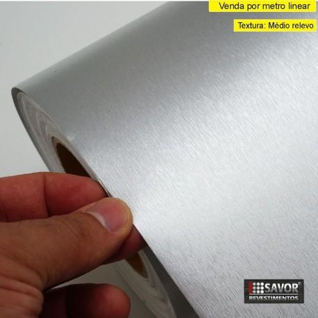 Metal escovado Premium MG123- revestimento PVC adesivo decorativo (Largura 122cm) - venda por metro
