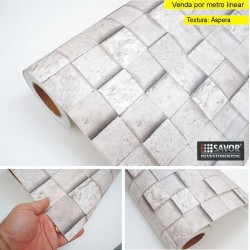 Pedra (cubos) HB743 - revestimento PVC adesivo decorativo (Largura 122cm) - venda por metro