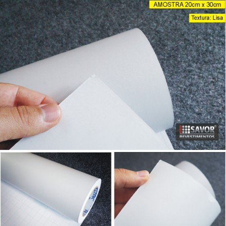 Amostra 20cm x 30cm - Adesivo Branco cetim fosco alltak