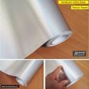 Fibra 4D Metalic PRATA Revestimento adesivo vinílico (Largura 106cm) - venda por metro