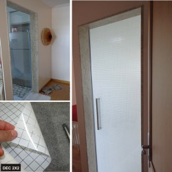 Película Decorativa Quadrado branco 2x2cm e intervalos de 0,2cm, venda por metro, largura 150cm