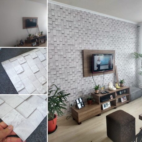 Pedra cubos cinza HB742 - revestimento PVC adesivo decorativo (Largura 122cm) - venda por metro