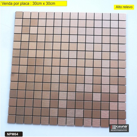 PASTILHA ADESIVA METÁLICA NPM64 dimensões 30 cm x 30cm - venda por placa