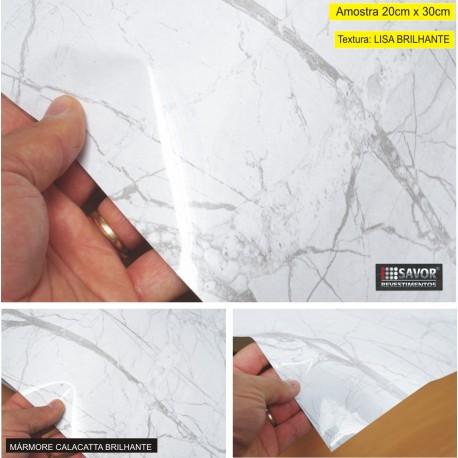 (Amostra 20cm x 30cm) Mármore Calacatta brilhante TG425B - Adesivo Decorativo