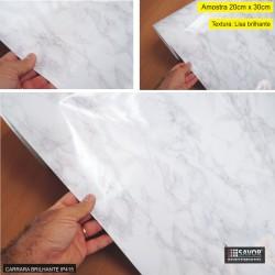 (Amostra 20cm x 30cm) Mármore Carrara Brilhante SV7-106 - Adesivo Decorativo
