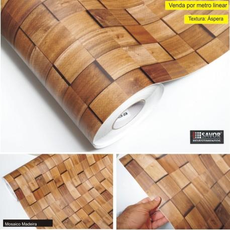 Mosaico Madeira SV4-103 revestimento PVC adesivo decorativo (Largura 122cm) - venda por metro