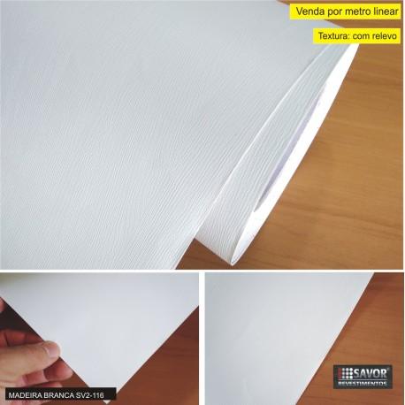 Madeira branca SV2-116 (Largura 122cm) - Adesivo Decorativo venda por metro. Ref. SD910-1