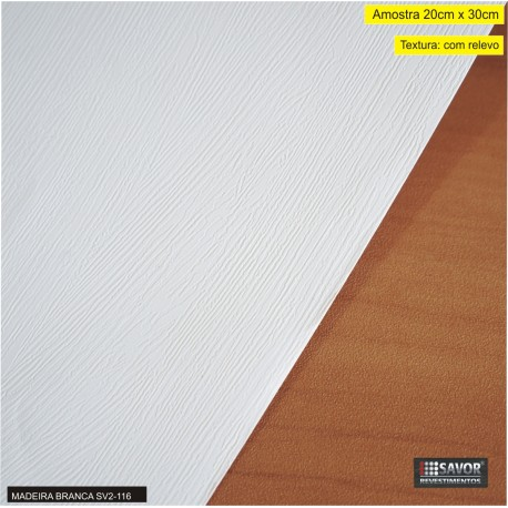 Amostra 20cm x 30cm - Madeira branca SV2-116 revestimento PVC adesivo ref. SD910-1