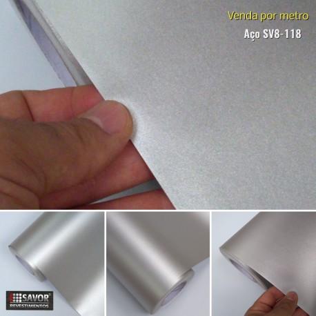 Metal Prata SV8-118 revestimento PVC adesivo decorativo (Largura 122cm) - venda por metro