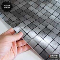 Amostra 20cm x 30cm - Pastilha Dark Inox) revestimento PVC adesivo decorativo