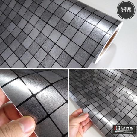 Pastilha Dark Inox evestimento PVC adesivo decorativo largura 122cm , venda por metro