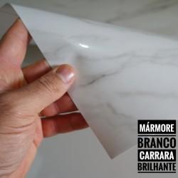 (Amostra 20cm x 30cm) Mármore Branco Carrara BRILHANTE SV7-107B - Adesivo Decorativo