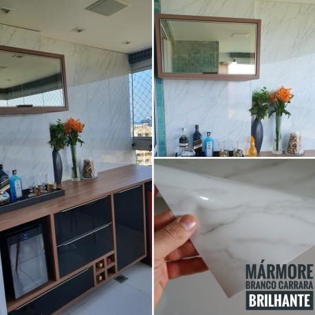 Mármore Branco Carrara BRILHANTE SV7-107B, textura lisa. Adesivo Decorativo (Largura 122cm) - venda por metro