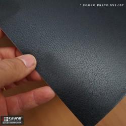 (Amostra 20cm x 30cm) Couro Preto SV2-137 Adesivo Decorativo